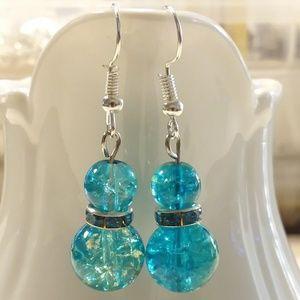 Blue crackle glass rhinestone earrings